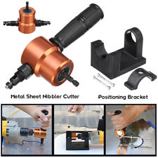 Double-Headed Sheet Metal Nibbler Hole Saw Cutter Electric Drill Attachment Kit