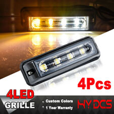 4X 4 LED COB Emergency Hazard Warning Beacon Strobe Grill Amber White Light Bar