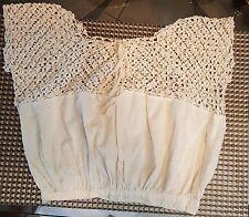 Antique Crocheted & Fabric Top 1800 or older Cream Antique