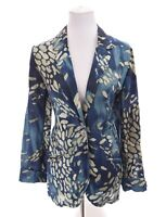 Coldwater Creek Womens Linen Bld Art-to-Wear Light Blazer Jacket Blue Sz Medium
