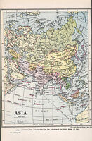 1947 Mappa ~ Asia ~ India Siberia Iran Cina Mongolia Giappone Thailandia Borneo