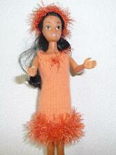 vêtements NEUFS pour barbie robe et bandeau fourrure orange lavables voir détail