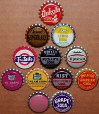 Vintage soda pop bottle caps 12 ALL DIFFERENT cork lined mix #23 new old stock