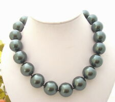 """Sea Shell Pearl Necklace 18.5"""" 20mm Peacock Black"""
