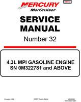 Mercruiser Mercury #32 4.3L MPI GASOLINE ENGINE Service Manual 2001 90-864261