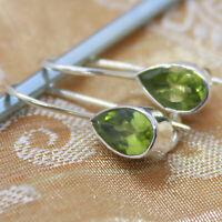 Peridot Ohrhänger echt Silber 925 Ohrringe Tropfen Sterlingsilber Grün hvts