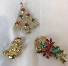 Vintage Christmas Pins Brooch B.J. Christmas Tree Genny's Poinsettia Snowman - 3