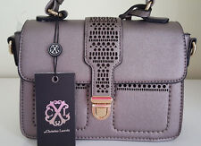 NWT Christian Lacroix Reese Bag Crossbody Pewter Grey Color Logo Detail Small