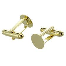 """1X(10X Gold Tone Cufflinks Cuff Link Backs Blanks 0.39"""" HOT [Toy] A2A5)"""