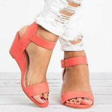 Women's Wedge Heel Peep toe Sandals Buckle Ankle Strap Shoes Candy Color Summer
