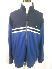 Nautica Full Zip Sweater Navy Blue White Stripes Mens XXL Stitched Logo Casual