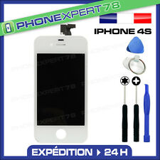 VITRE TACTILE IPHONE 4S BLANCHE + ECRAN LCD SUR CHASSIS + OUTILS