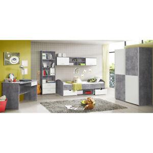 Jugendzimmer Set Lupo Schrank Bett Regal Schreibtisch in Beton grau und weiß
