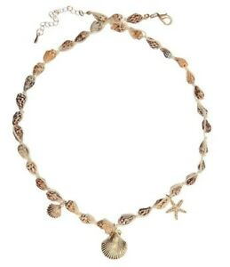 Gold Shell Beaded Cord Necklace