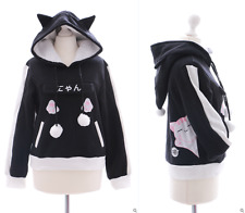 Ts-41 cat CHAT Noir Capuche Sweatshirt Pull Goth Lolita Harajuku Japon