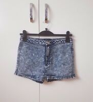 Blue Washed High Waisted Denim Jean Shorts SIZE 12 NEW Womens