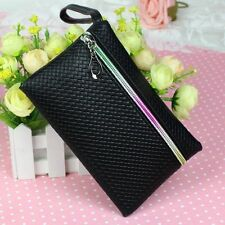 Womens Card Holder Wallet Coin Purse Clutch Zipper Leather Change Bag Black Cool