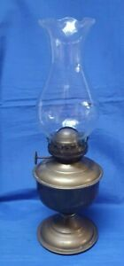 Small Vintage Brass Oil Lamp with Clear Glass Chimney - Made in India  #R241