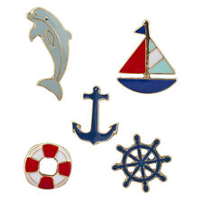 Lux Accessories Goldtone Nautical Shipwreck Sailor Anchor Brooch Pin Set 5PCS
