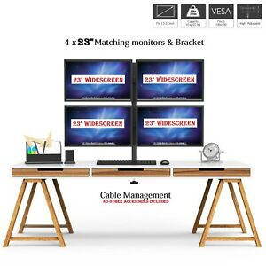 """4 x 23"""" Quad Monitor Computer Screen Display Monitor+Stand Trading Business CCTV"""