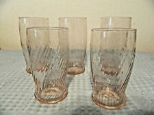 Pink Twisted Glass Tumblers, Set of 5, Two Sizes