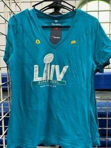 Super Bowl LIV T Shirt Tshirt Ladies V neck Super Bowl Logo Miami Aqua NFL Small