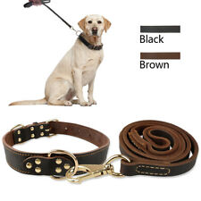 Genuine Leather Dog Collar and Leash Set Adjustable Medium Large Doberman Boxer