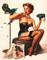 """Vintage GIL ELVGREN Pinup Girl CANVAS PRINT Poster Parrot feather hat 24"""" X 18"""""""