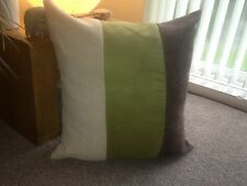 """4 X 22"""" TRENDY BROWN CHENILLE/ GREEN FAUX SUEDE/CREAM CHENILLE CUSHION COVERS"""