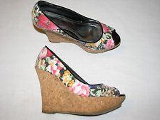 "8 M BAMBOO Ladies Shoes Cork Wedge High 5"" Heels Stilettoes Floral Black Sequins"