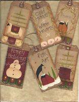 ~CHRISTMAS PRIMITIVE ~12 VINTAGE GRUNGY TAGS~FOLK~Hang tags~ Gift Tags~prim