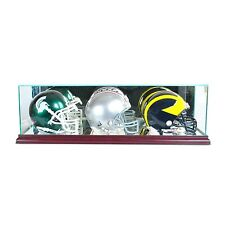 *NEW Triple Mini Helmet Glass Display Case NFL NCAA UV FREE SHIPPING