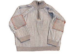 Knit Sweater Unisex Youth Sz 4T Elbow Patches Organically By Brown 1/4 Zip