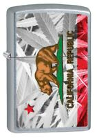 Zippo Lighter: California Flag and Weed Plants - Street Chrome 79869