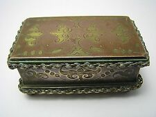 FRENCH BRASS BOX MATCH BOX w/STRIKER MATCH HOLDER MATCH SAFE France c1870s Rare!