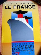 """TRES BELLE AFFICHE VINTAGE """"IL Y A 3 ANS LE FRANCE"""" EXPOSITION EN 1991 LE HAVRE"""