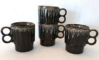 Set of 4 Vtg Japan Brown Glazed White Drip Double Fingerhole Coffee Tea Mugs MCM