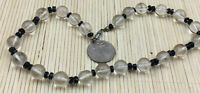 Vintage Art Deco Necklace Glass Crystal & Black Faceted Spacers Knotted Choker