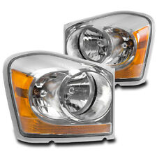 2004-2005 DODGE DURANGO SUV CRYSTAL STYLE REPLACEMENT CHROME HEADLIGHTS LAMP NEW