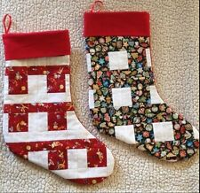 Holiday Christmas Stocking Unique Handcrafted Cotton Multi-color design. 2 Pack.