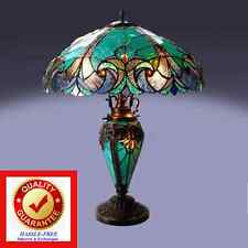 Tiffany Style Table Lamp w/ Vibrant Blue Green Handcrafted Cut Glass Victorian