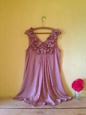 H & M size 10 nude pink 60's retro babydoll look frill floral top layered dress