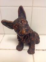 "Vintage Dog Scottie Copper Figurine Medium Size Signed  7"" Tall"