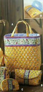 •MaggiB French Country Quilted - Berry Patch Yellow - Purse, Makeup case, change