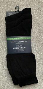 *NEW* CHARLES TYRWHITT Cotton Rich Socks - x3 Pairs - Black - M (size 6 - 10)