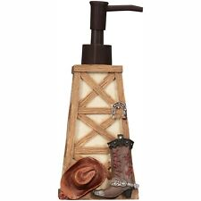 Rodeo Time Soap Pump Dispenser Resin Western Motif Cowboy Hat Boot Brown Tan NEW