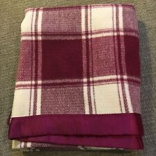 Vintage Pearce 100% Wool Blanket Burgundy and White Checked Satin Trim 72x82