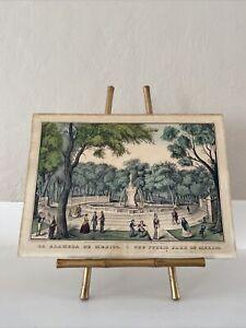 Original Currier La Alameda De Mexico City 1848 Hand Colored Lithograph