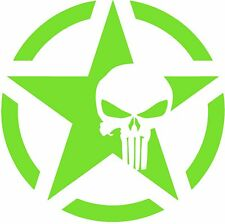 "Army Star Punisher Skull Jeep Military Decal, 5.4"" x 5.4"", 2PCS, LIME GREEN"