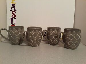 Set of 4 New Baum Moroccan Coffee Cups Mugs Gray & White